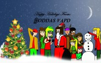 December 2014: Tis the Season: The Holiday themed JODDAS VAPD header. One of the first tested headers to be made in photoshop. We wanted red, green, and gold for this header. The only thing I do not like about this one is the absence of the mistletoe I had above Dan and Ophelia originally. Background not drawn by me, got it from some free wallpapers page.