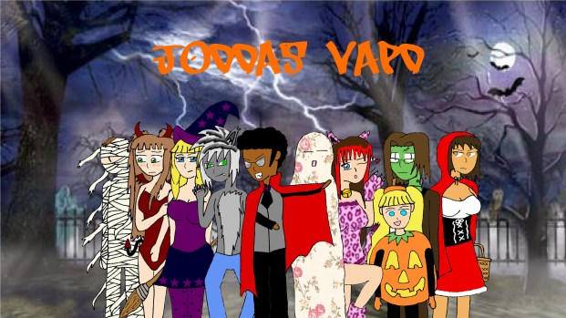 """October 2014: Spooky Night: The Halloween theme. I wanted to make each of my characters represent an aspect of Halloween. Dan the mummy, Ophelia the Succubus, Alma, the witch, Patrick the Werewolf, Drew the vampire, Scott the """"cough"""" ghost, Vanilla the Nekomimi, Alice the pumpkin, David the Frankenstein, and Jen as Little Red Riding Hood. Ophelia is a succubus because my girlfriend was nagging me the night I made drew and Vanilla had already been drawn. The idea of Scotts ghost costume was something I came up with at the last second. Jen is dressed as Little Red Riding Hood in respects to when I dressed as Red Riding Hood back in High School. This was also one of the first pictures my girlfriend tested the photoshop program we now use for the strips today."""