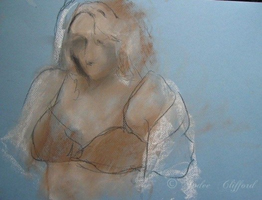 Life Drawing at the Art League, Pastel on paper,