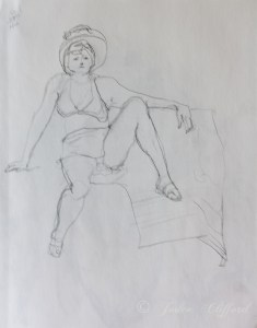 Life Drawing at the Art League- Rita, Graphite on paper