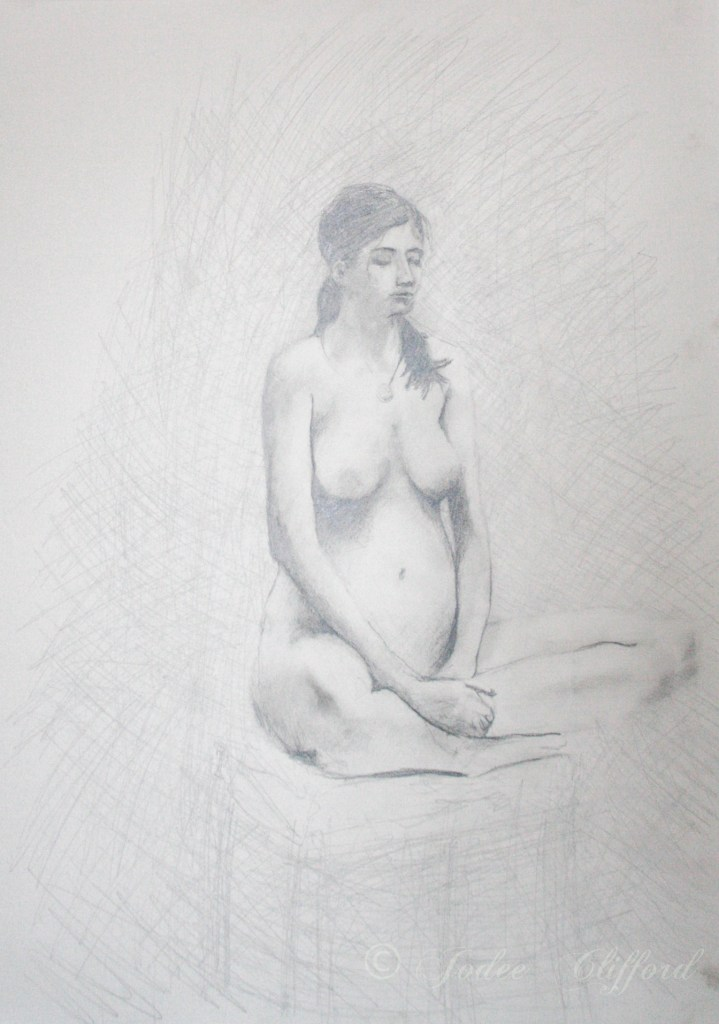 Life Drawing at the Art Center, Zen, graphite on paper