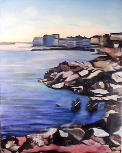 (SOLD) North Wildwood Seawall, Oil on Canvas
