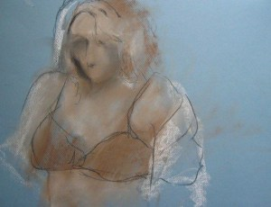 Life Drawing at the Art League, Pastel on paper