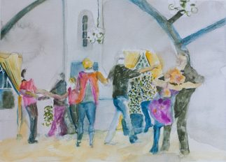 Connection, West Coast Swing, Lead-Follow Social Dancers, Watercolor, 2017