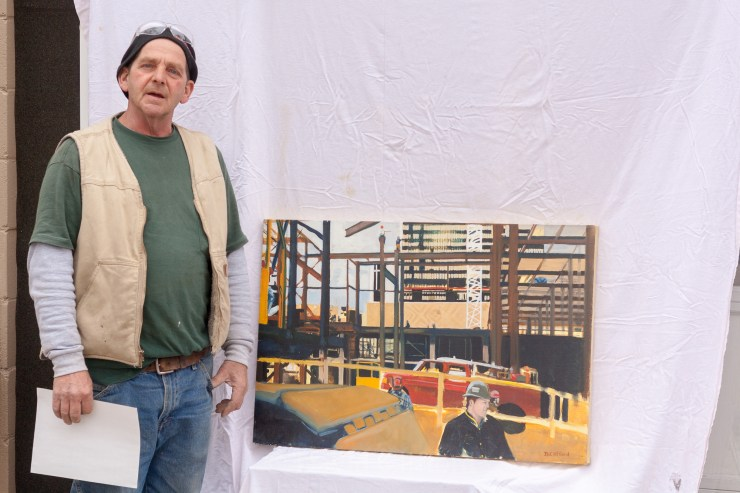 David Clifford standing next to Bally's Wild Wild West Atlantic City, Oil on Canvas
