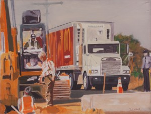 Ocean Heights Avenue Wawa, Somers Point, Oil on Canvas, David Clifford