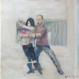 Paintings about human connection through lead follow dance