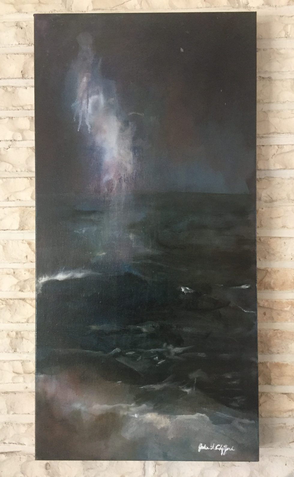 """Milky Way Cape May Point Oil on Canvas, 15x30"""""""
