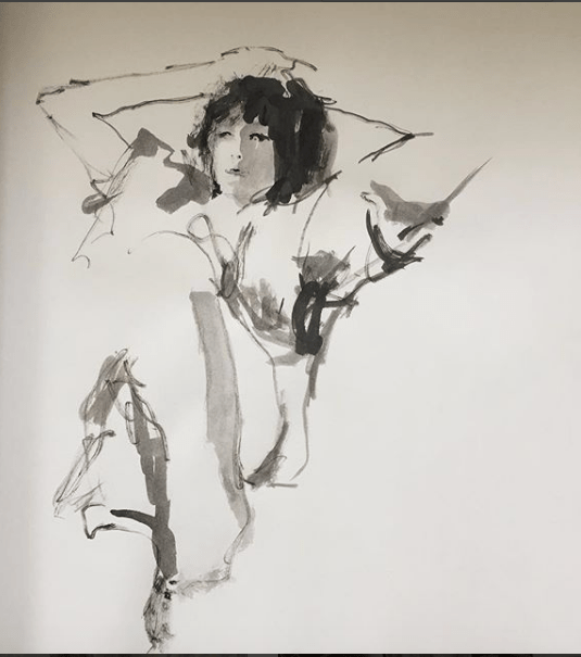 Female Figure Sketch 10 Min ink