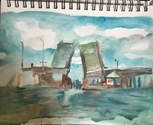 sold / Disconnected Beesleys Point Bridge, watercolor on paper. 2019