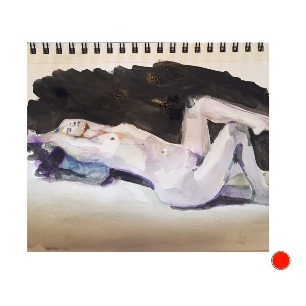 Reclining figure study nude watercolor and ink / paper