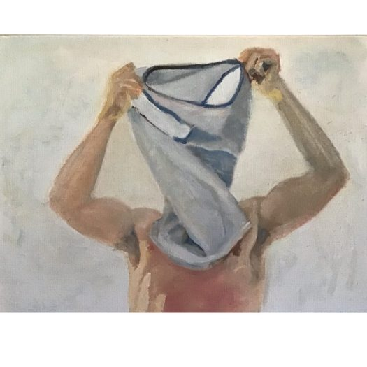 Painting of a man taking his shirt off