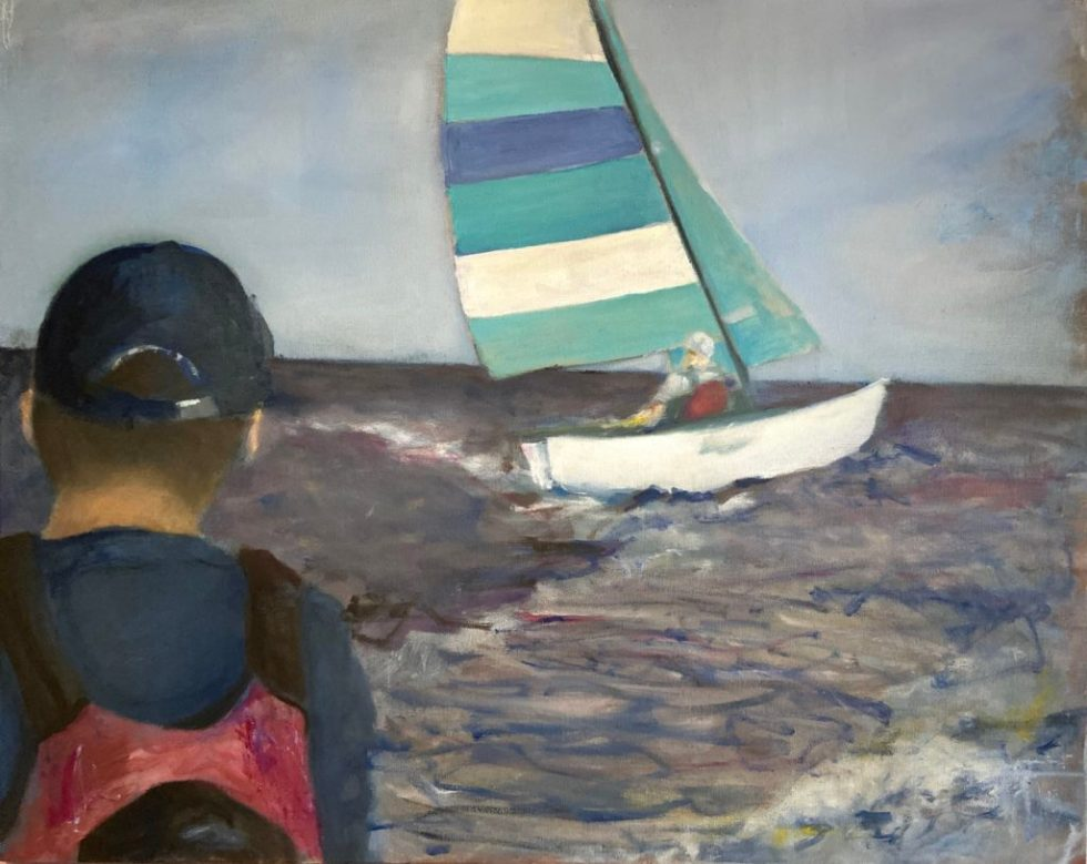 Oil on canvas, Sailboat