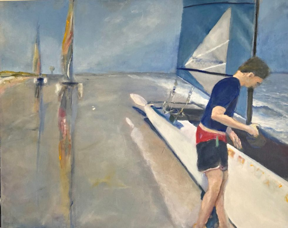 Oil painting: catamaran sailboats, a sailor