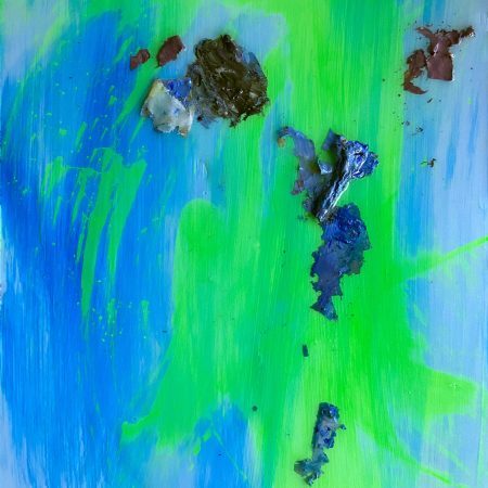 Kick Paint forms. Abstract contemporary mixed media oil painting
