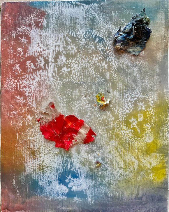 Paint forms. Abstract contemporary mixed media oil painting