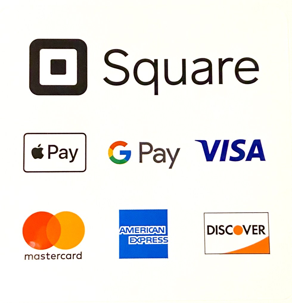Now accepting all major credit cards, Apple Pay and Android Pay, as well as Cash, Venmo, and CashApp