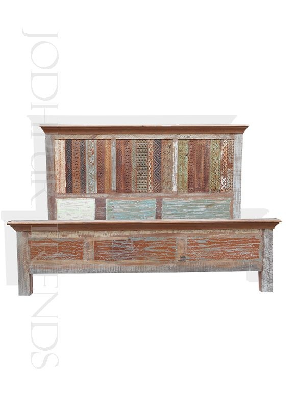 Chunky Reclaimed Wood Bed | Furniture Wooden Divan Bed Indian Design