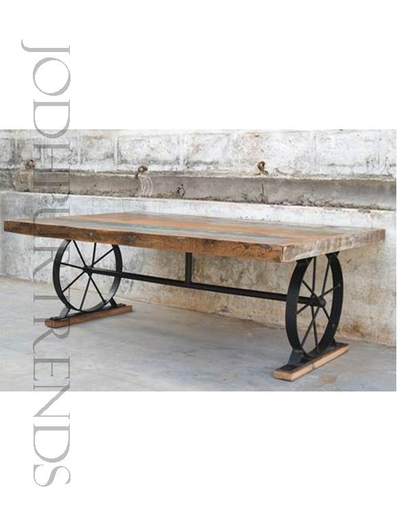 Vintage Dining Table with Base of Wheels   Vintage Industrial Furniture Iron Wood Coffee Table
