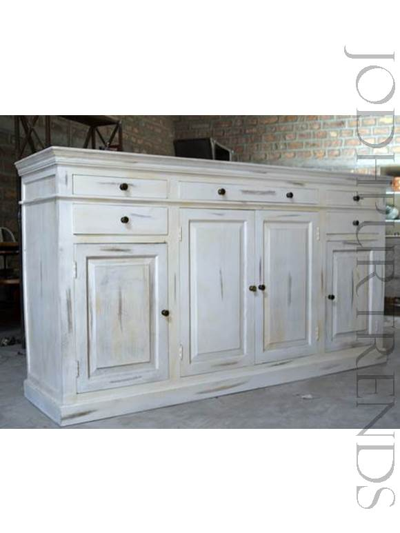 Chic Sideboard in White Distress Finish | Antique Reproduction Buffets