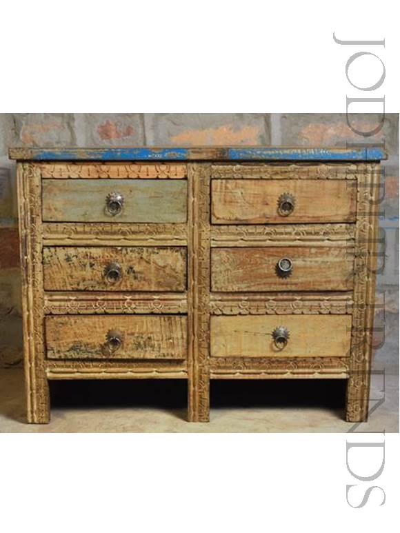 Boho Drawer Chest | Shabby Chic Furniture Wood
