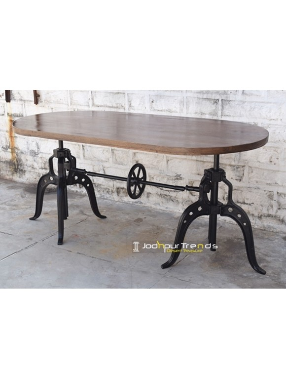 Rugged Dining Table with Dual-Base | Wooden Table Restaurant