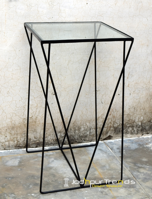 Glass Outdoor Bar Table Rot Iron Furniture