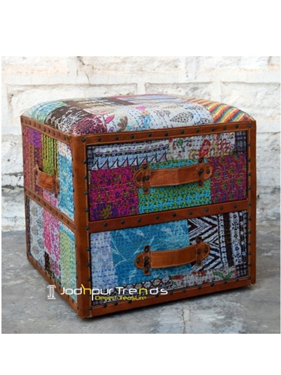 Indian Ethnic Patchwork Pouf Ottoman, hotel furniture design