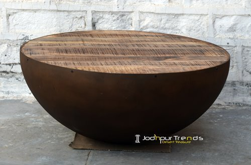 Rustic Iron Half Round Center Table Furniture Design