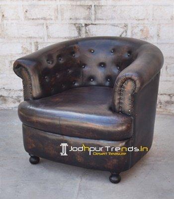 Round Back Tufted Leather Sofa Design