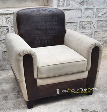 Canvas Leather Handcrafted Indian Sofa Design