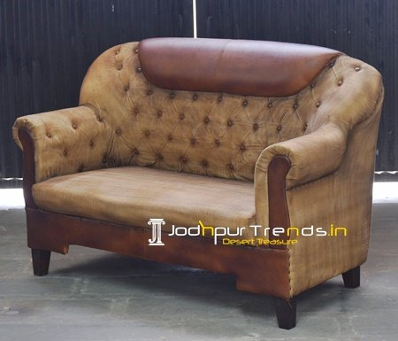 Canvas Genuine Leather Two Seater Sofa