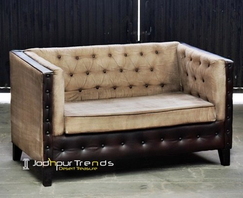 Tufted Button Hand Crafted Canvas Leather Sofa