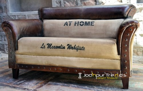 Canvas Printed Leather Two Seater Sofa Design