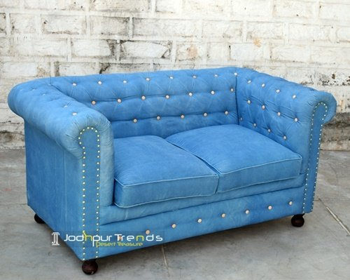 Blue Fabric Chesterfield Two Seater Sofa Supplier