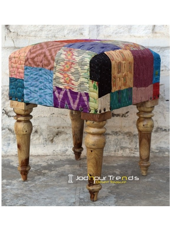 Multi Color Traditional Fabric Pouf Design