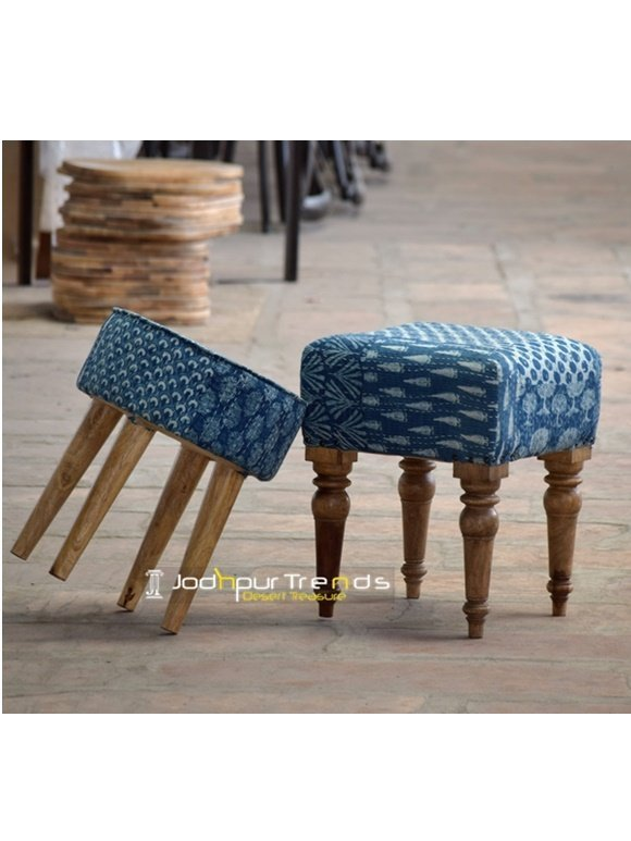 Blue Rajasthani Patch Work Footstool Pouf