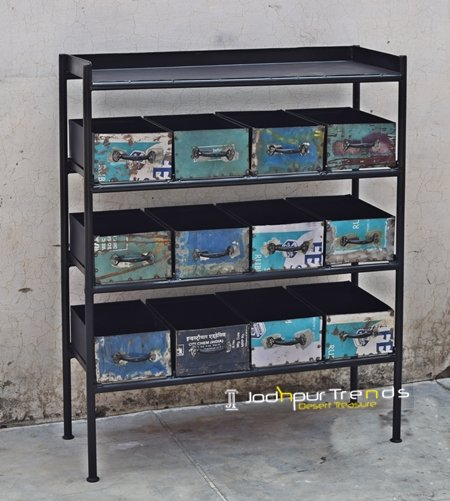 Old Metal Recycled Open Storage Cabinet