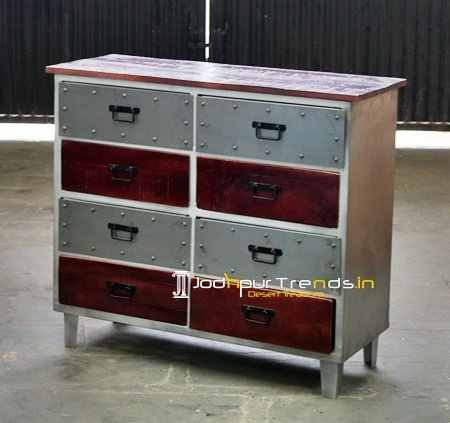Factory Finish Industrial Drawer Chest Furniture