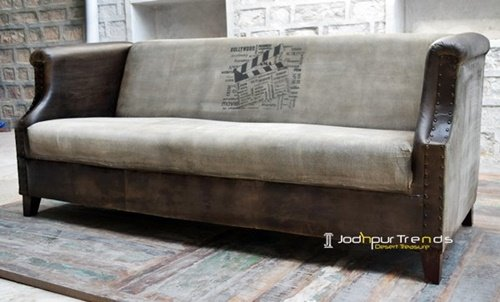 Leather Grey Canvas Indian Designer Restaurant Sofa