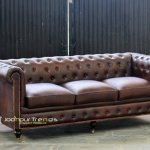 Solid Wooden Structure Chesterfield Leather Sofa