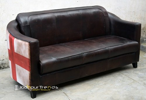Flat Pattern Genuine Goat Leather Wholesale Sofa