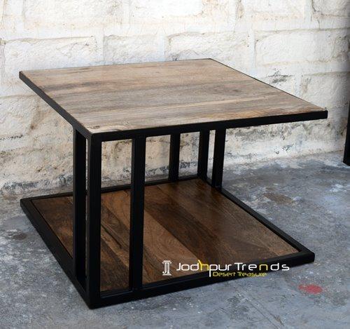 metal design solid wood cafe table furniture