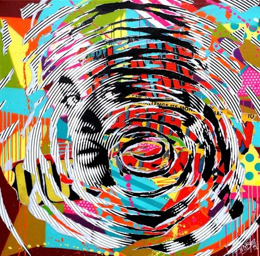 BLACK SPIRAL WOMAN by Jo Di Bona 2015 120x120 technique mixte sur toile