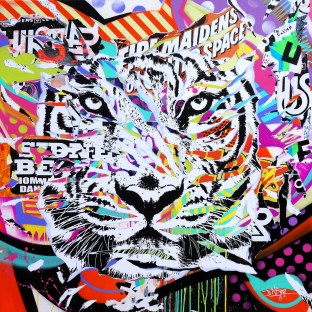 MY WHITE TIGER by Jo Di Bona 2014 140x140 technique mixte sur toile