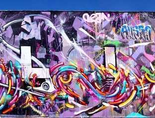 Mur réalisé avec Kanos pour le Festival Rue des Arts 3, Aulnay-sous-Bois