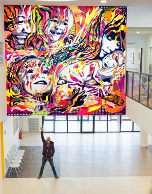 Mur réalisé dans le hall de l'Hôpital Robert Ballanger, Aulnay-sous-Bois
