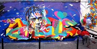 Mur réalisé rue Denoyez, Paris 20