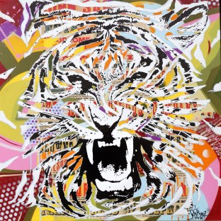 TIGER ROCK by Jo Di Bona 2015 100x100 technique mixte sur toile