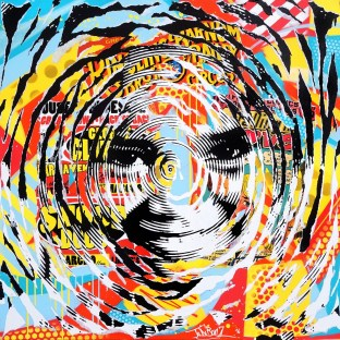 AROUND YOUR WORLD by Jo Di Bona 2016 100x100 technique mixte sur toile